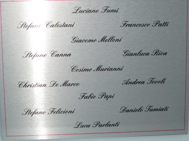 La parte posteriore con i nostri nomi